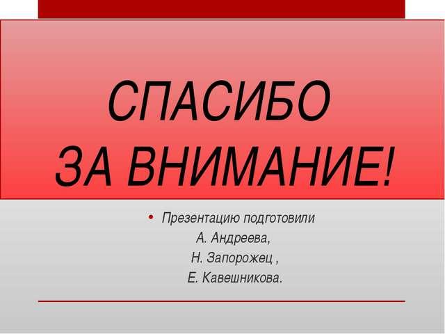 СПАСИБО ЗА ВНИМАНИЕ! Презентацию подготовили А. Андреева, Н. Запорожец , Е. К...