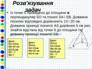 Розв'язування задач Із точки S проведено до площини  перпендикуляр SO та пох