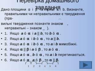 Перевірка домашнього завдання Дано площини α і β та прямі a і b. Визначте, пр