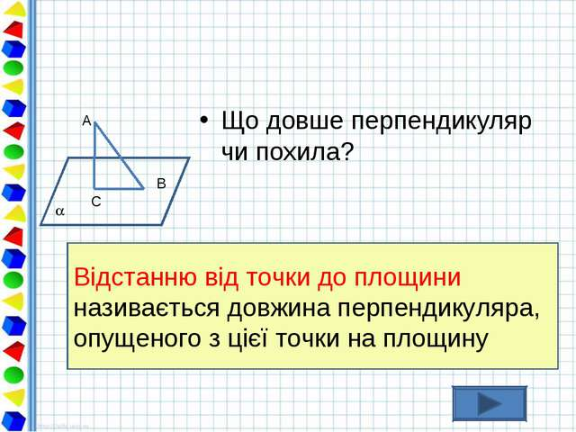 Що довше перпендикуляр чи похила? Відстанню від точки до площини називається...