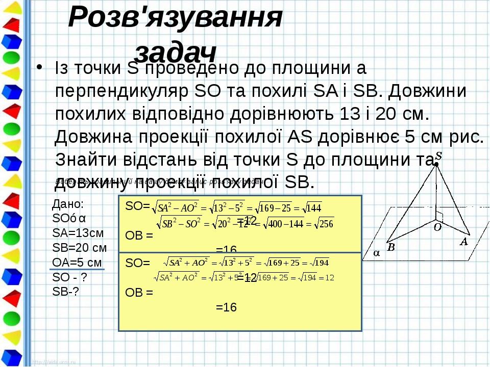 Розв'язування задач Із точки S проведено до площини а перпендикуляр SO та пох...