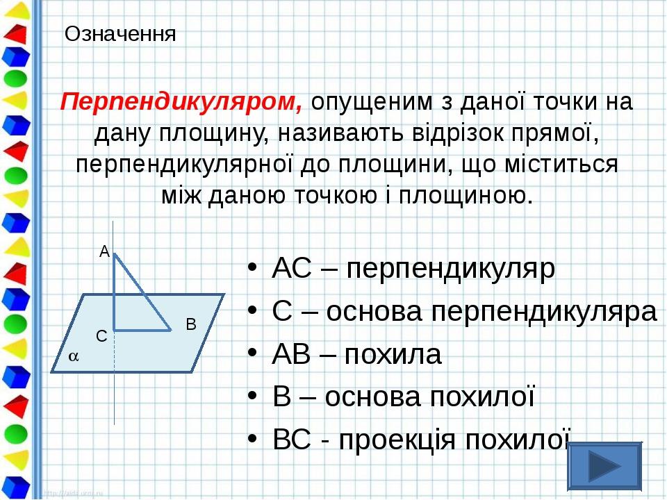 Перпендикуляром, опущеним з даної точки на дану площину, називають відрізок п...