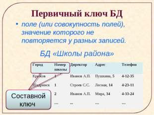 Первичный ключ БД поле (или совокупность полей), значение которого не повторя