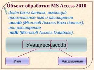 Объект обработки MS Access 2010 файл базы данных, имеющий произвольное имя и