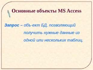 Основные объекты MS Access Запрос – объект БД, позволяющий получить нужные