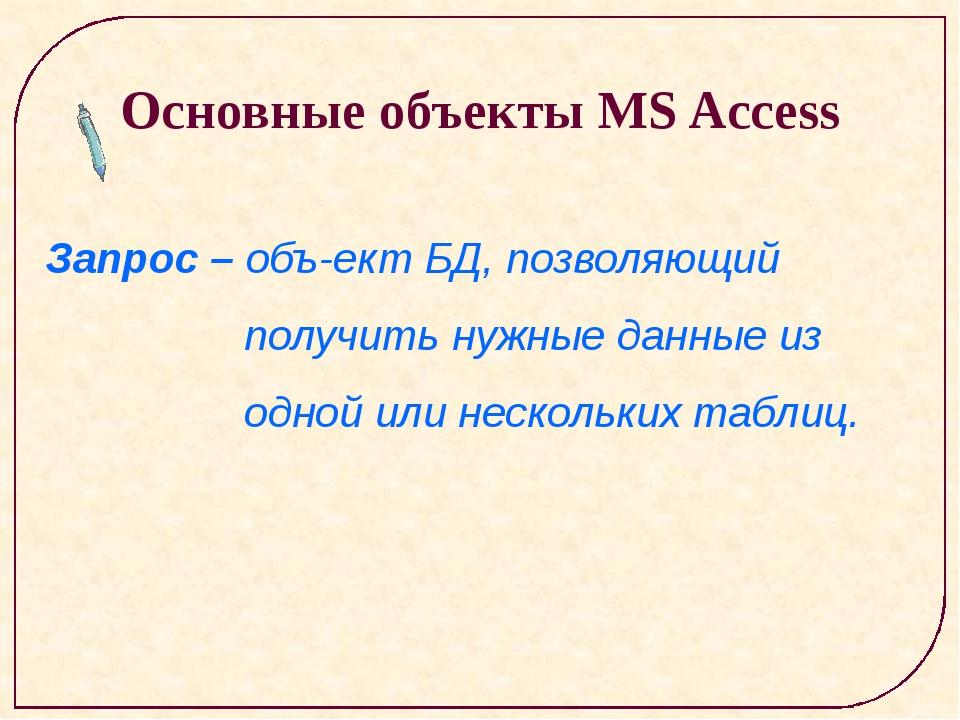 Основные объекты MS Access Запрос – объект БД, позволяющий получить нужные...