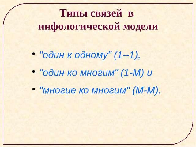 """Типы связей в инфологической модели """"один к одному"""" (1-1), """"один ко многим""""..."""