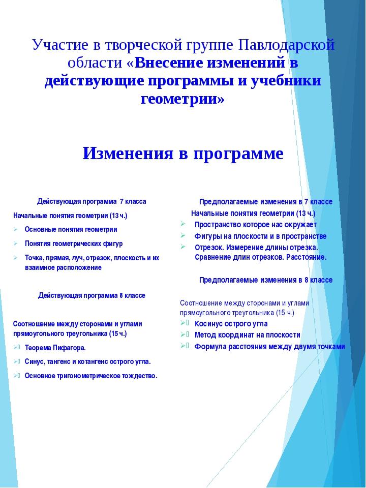 Участие в творческой группе Павлодарской области «Внесение изменений в действ...