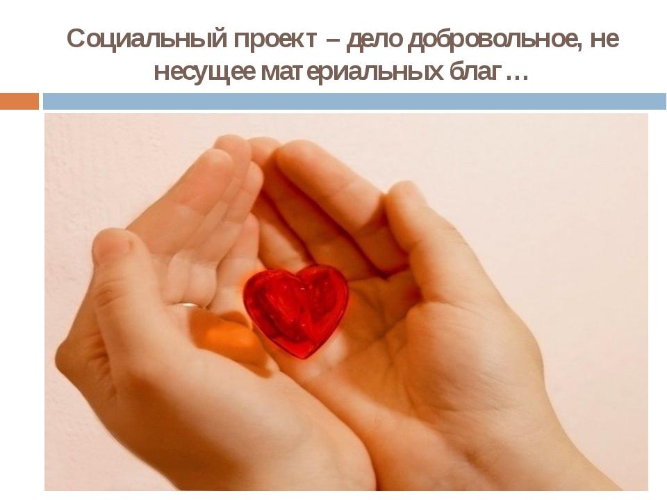 Социальный проект – дело добровольное, не несущее материальных благ…
