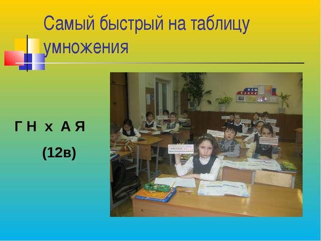 Самый быстрый на таблицу умножения Г Н х А Я (12в)