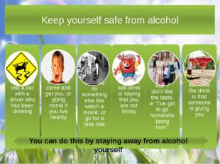 Keep yourself safe from alcohol You can do this by staying away from alcohol