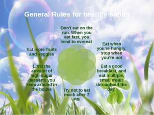 General Rules for healthy-eating