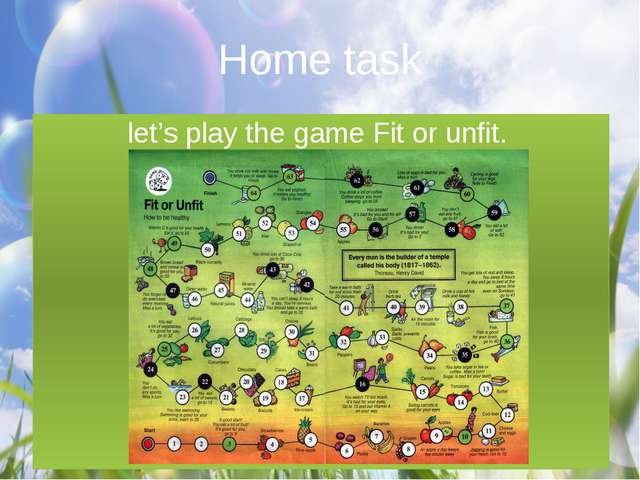 Home task let's play the game Fit or unfit.