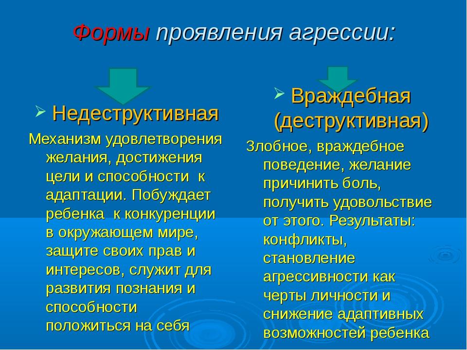Формы проявления агрессии: Недеструктивная Механизм удовлетворения желания, д...