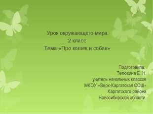 Подготовила: Тетюхина Е. Н. учитель начальных классов МКОУ «Верх-Каргатская С