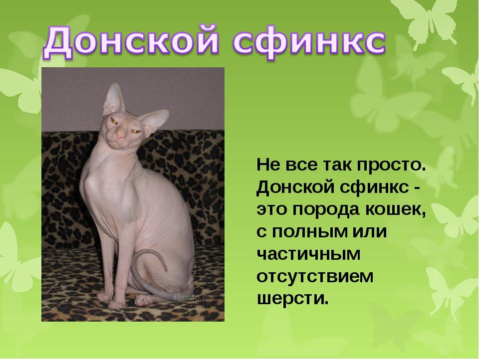 Не все так просто. Донской сфинкс - это порода кошек, с полным или частичным...