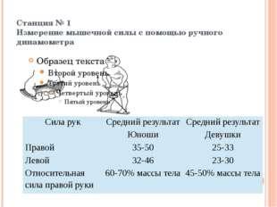 Станция № 1 Измерение мышечной силы с помощью ручного динамометра  Сила ру
