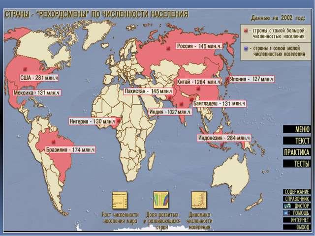Более половины населения мира сосредоточено в 6 странах Китай -1336,7млн.чел...