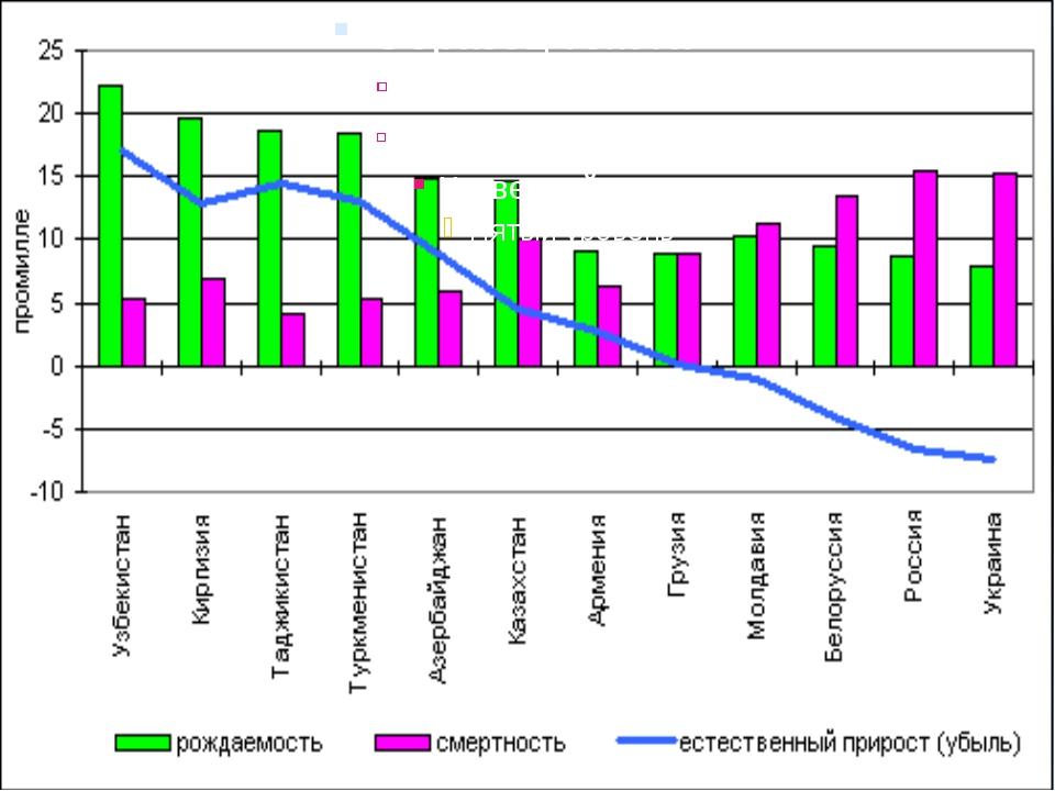 Факторы, влияющие на естественный прирост: Уровень жизни Структура населения...