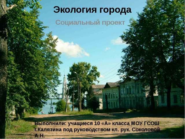 Экология города Социальный проект Выполнили: учащиеся 10 «А» класса МОУ ГСОШ...