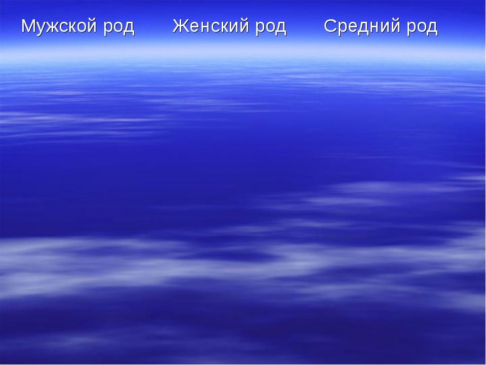 Мужской родЖенский родСредний род