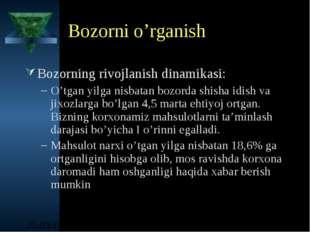 Bozorni o'rganish Bozorning rivojlanish dinamikasi: O'tgan yilga nisbatan boz