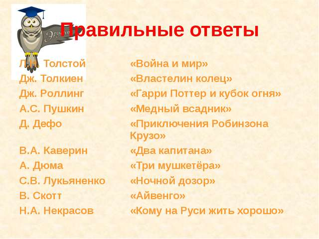 Правильные ответы Л.Н. Толстой «Война и мир» Дж. Толкиен «Властелин колец» Дж...