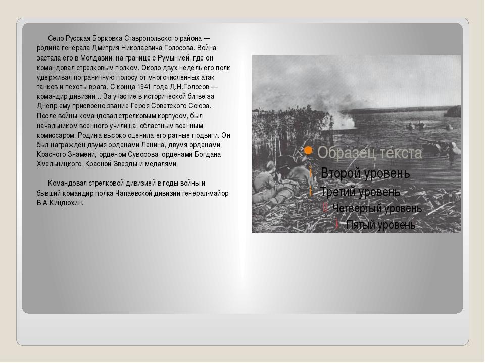 Село Русская Борковка Ставропольского района — родина генерала Дмитрия Никол...