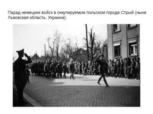 Парад немецких войск в оккупируемом польском городе Стрый (ныне Львовская обл