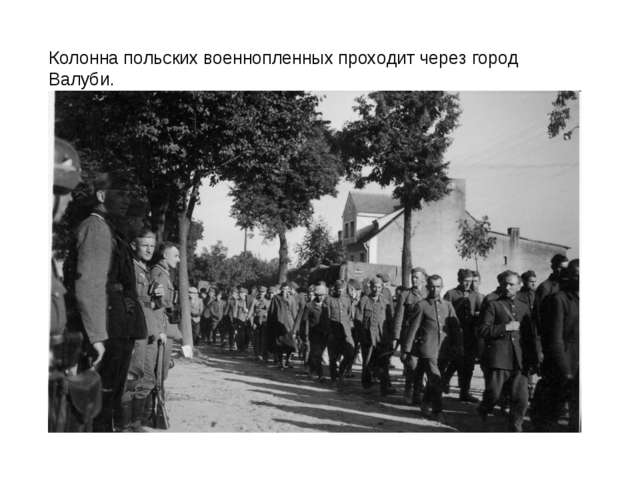 Колонна польских военнопленных проходит через город Валуби.