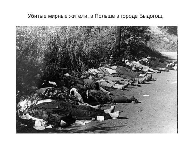 Убитые мирные жители, в Польше в городе Быдогощ.