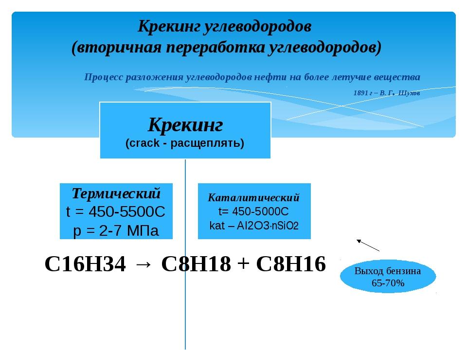 Крекинг углеводородов (вторичная переработка углеводородов) Процесс разложени...