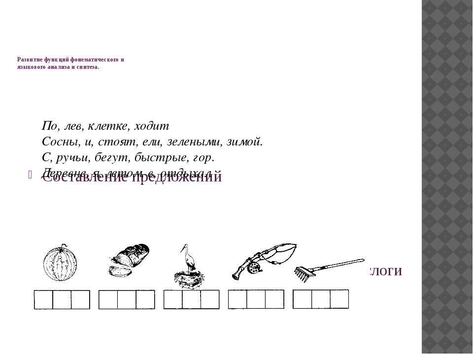 Развитие функций фонематического и языкового анализа и синтеза. Составление...