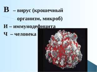 В – вирус (крошечный организм, микроб) И – иммунодефицита Ч – человека