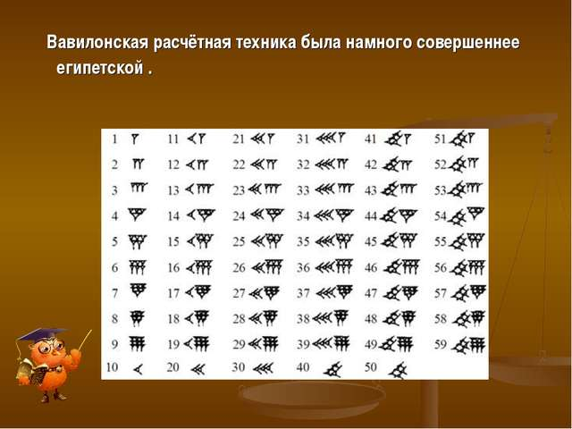 Вавилонская расчётная техника была намного совершеннее египетской .
