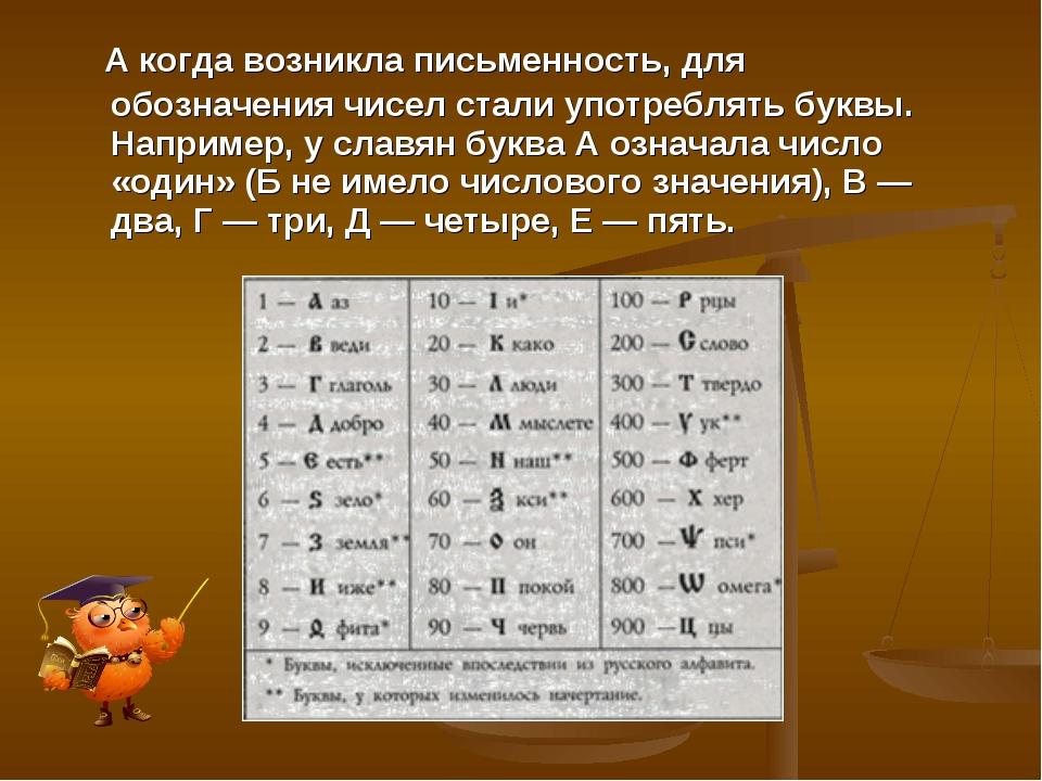 А когда возникла письменность, для обозначения чисел стали употреблять буквы...