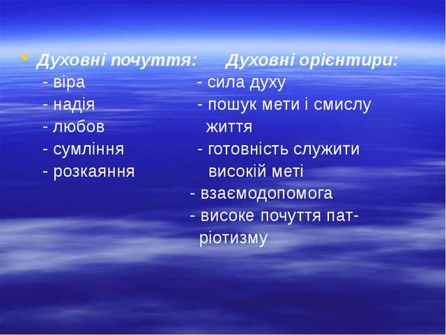 Духовні почуття: Духовні орієнтири: - віра - сила духу - надія - пошук мети...