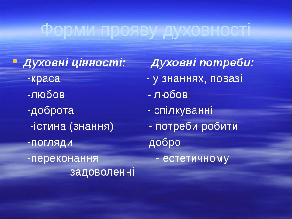 Форми прояву духовності Духовні цінності: Духовні потреби: -краса - у знання...