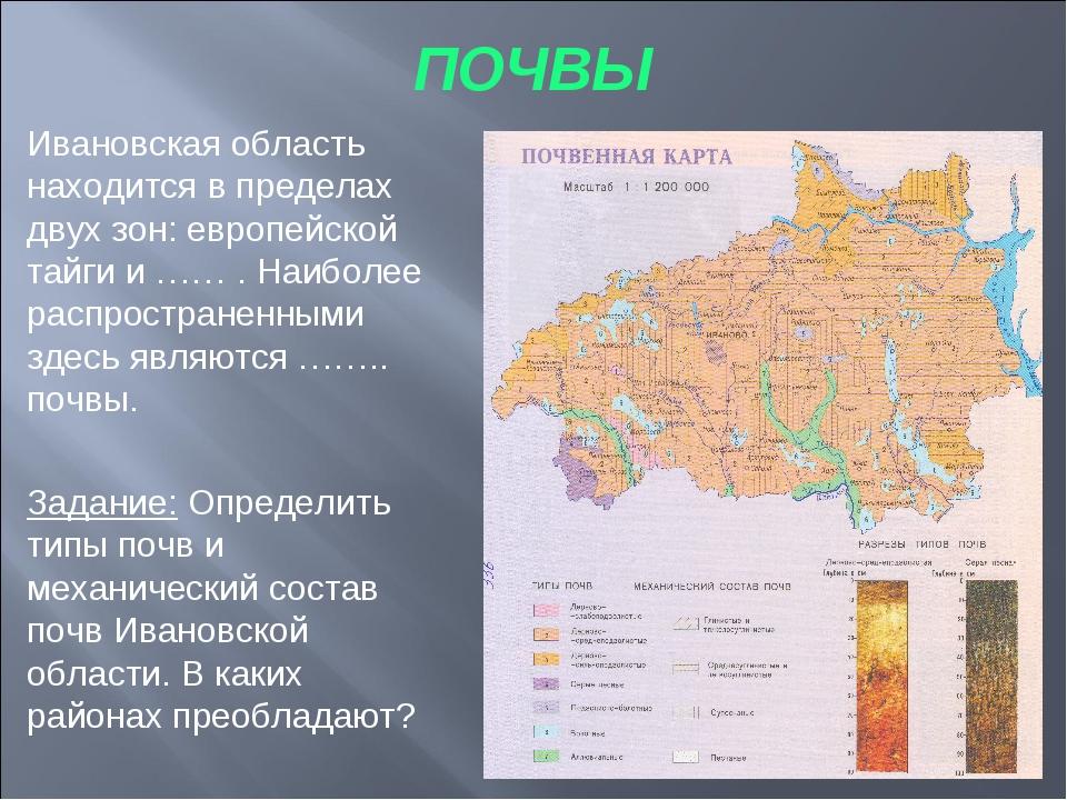 ПОЧВЫ Ивановская область находится в пределах двух зон: европейской тайги и …...
