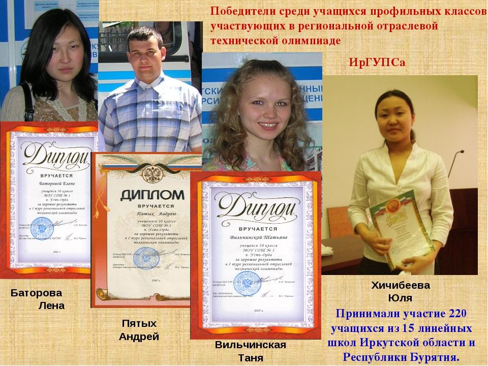 Победители среди учащихся профильных классов, участвующих в региональной отра...