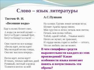 Слово – язык литературы А.С.Пушкин На холмах Грузии лежит ночная мгла; Шумит