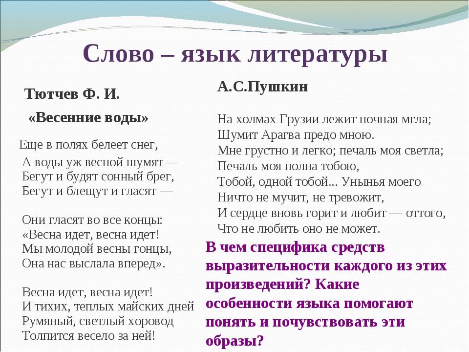 Слово – язык литературы А.С.Пушкин На холмах Грузии лежит ночная мгла; Шумит...