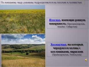 Плоские, имеющие ровную поверхность (Причерноморская, Западно- Сибирская) Хол