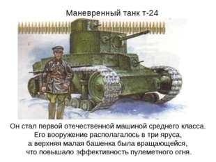 Маневренный танк т-24 Он стал первой отечественной машиной среднего класса. Е