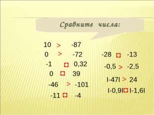 Сравните числа: 10 0 0,32 -1 39 0 -87 -72 -46 -101 -11 -4 -0,5 -2,5 -28 -13 >