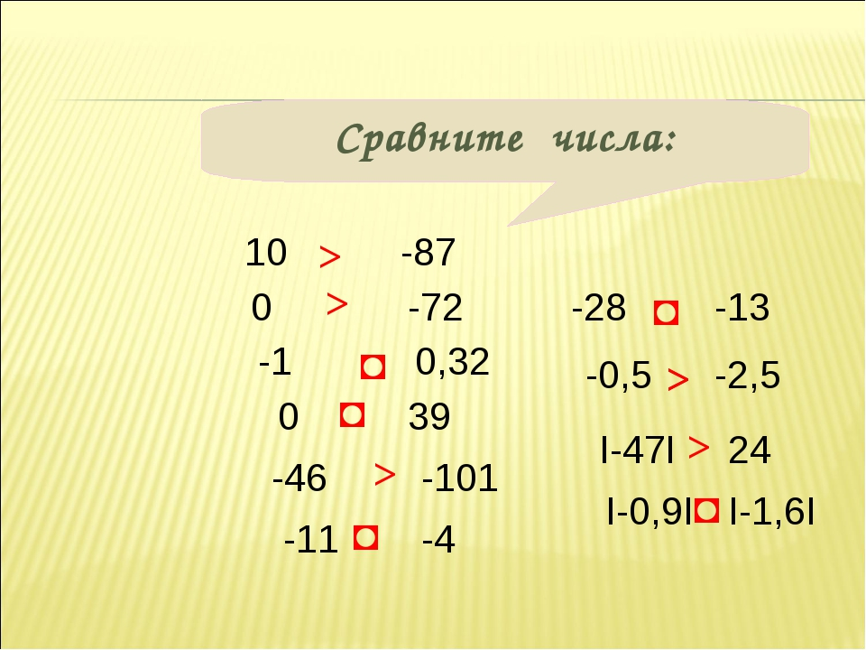 Сравните числа: 10 0 0,32 -1 39 0 -87 -72 -46 -101 -11 -4 -0,5 -2,5 -28 -13 >...