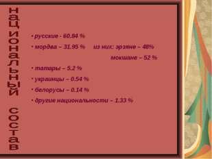 русские - 60.84 % мордва – 31.95 % из них: эрзяне – 48% мокшане – 52 % татар