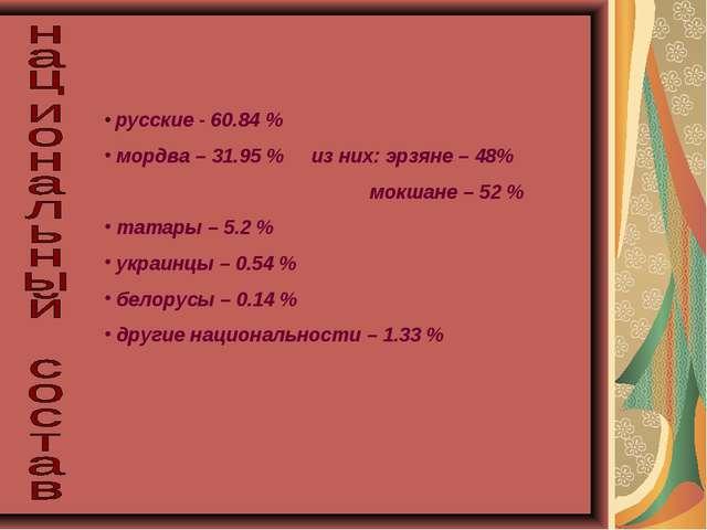 русские - 60.84 % мордва – 31.95 % из них: эрзяне – 48% мокшане – 52 % татар...