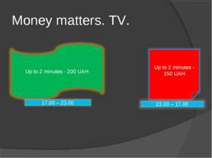 Money matters. TV.
