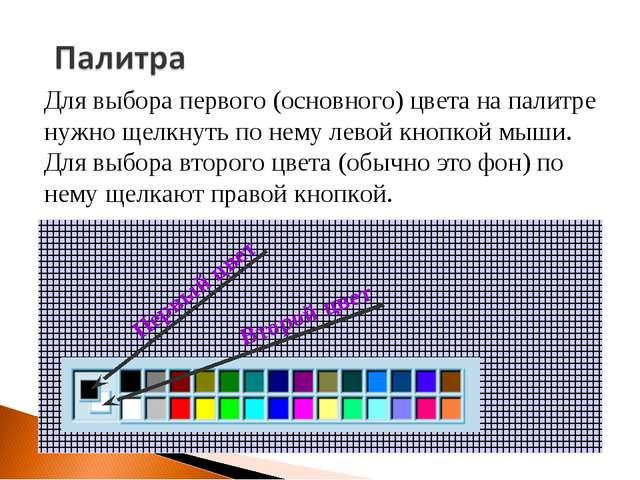 Для выбора первого (основного) цвета на палитре нужно щелкнуть по нему левой...